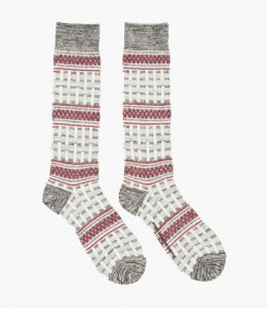 Grey ä and & Burgundy Tall Basket Patterned Knit Socks