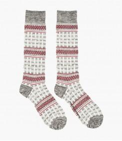 Grey ä and & Burgundy Tall Basket Patterned Knit Socks